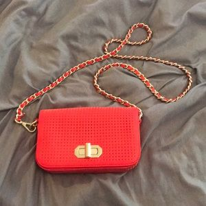 Banana Republic Orange and Gold Chain Bag